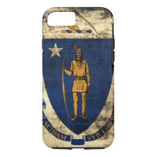 ヴィンテージのマサチューセッツのグランジな州の旗 iPhone 8/7ケース