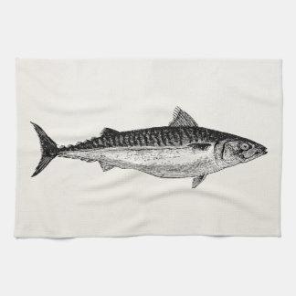 ヴィンテージのマサバの魚-水生テンプレート キッチンタオル