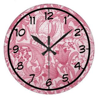 ヴィンテージのマゼンタの渦巻、花柄および葉パターン ラージ壁時計