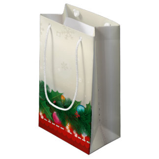 ヴィンテージのマツ及びオーナメントのクリスマスのギフトバッグ スモールペーパーバッグ