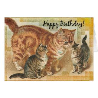 ヴィンテージのママ猫および子ネコ、誕生日 グリーティングカード