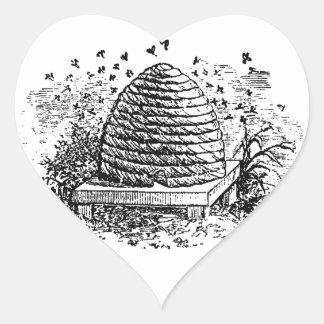 ヴィンテージのミツバチの巣の蜂蜜の蜂の養蜂 ハートシール