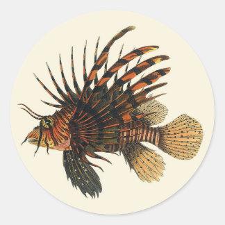 ヴィンテージのミノカサゴの魚、海洋の海の生命動物 ラウンドシール