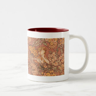 ヴィンテージのミュシャのアールヌーボーのマグ ツートーンマグカップ