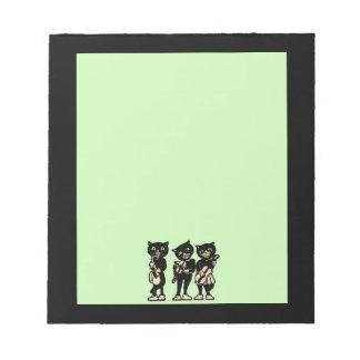 ヴィンテージのミュージシャンの黒猫音楽ノート ノートパッド