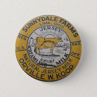 ヴィンテージのミルクのビンの王冠のリマのオハイオ州の酪農場Sunnydale 5.7cm 丸型バッジ