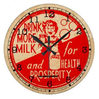 ヴィンテージのミルクのラベルの時計 ラージ壁時計