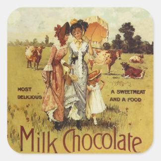 ヴィンテージのミルクチョコレート牛パーティー スクエアシール