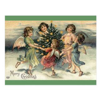 ヴィンテージのメリークリスマスの天使の子供 ポストカード