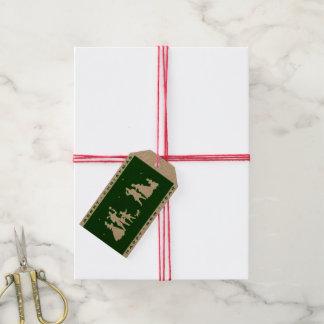 ヴィンテージのメリークリスマスの技術の緑のシルエット ギフトタグ