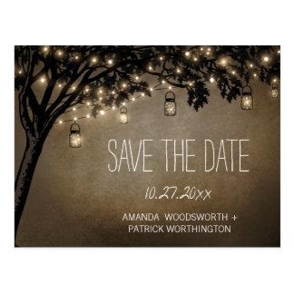ヴィンテージのメーソンジャーのオークの木の保存日付カード ポストカード