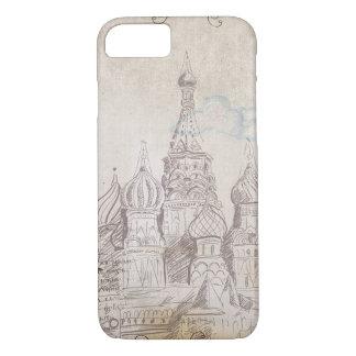 ヴィンテージのモスクワの郵便料金のデザイン iPhone 8/7ケース