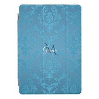 ヴィンテージのモダンで魅力的なターコイズのダマスク織のiPadの場合 iPad Proカバー