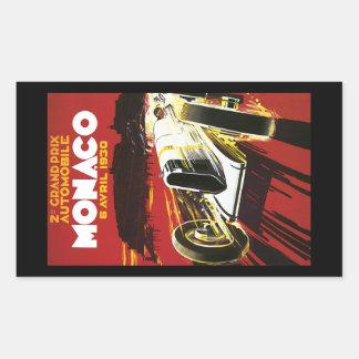 ヴィンテージのモナコ車のロードレースポスター 長方形シール