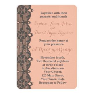 ヴィンテージのモモの灰色のレースの結婚式招待状 12.7 X 17.8 インビテーションカード