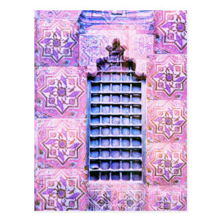 ヴィンテージのモロッコの窓のピンクのOranate Bohoの上品 ポストカード