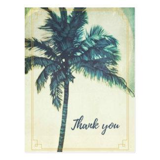 ヴィンテージのヤシの木のビーチは郵便はがき感謝していしています ポストカード