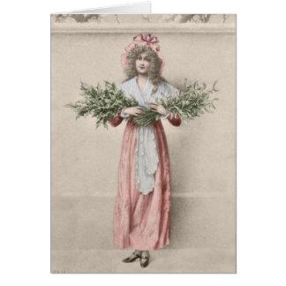 ヴィンテージのヤドリギのヒイラギの女の子のクリスマス カード