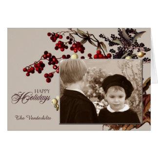ヴィンテージのヤドリギの写真の休日 カード