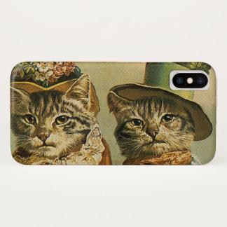 ヴィンテージのユーモア、帽子のビクトリアンな花嫁の新郎猫 iPhone X ケース