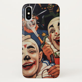 ヴィンテージのユーモア、笑うサーカスのピエロおよび警察 iPhone X ケース