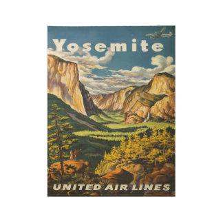 ヴィンテージのヨセミテ国立公園航空会社旅行 ウッドポスター