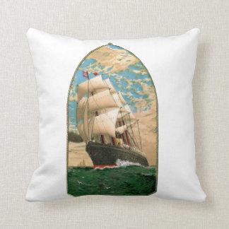 ヴィンテージのヨットとの航海のなテーマ クッション