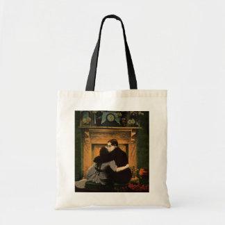 ヴィンテージのラブロマンスもののカップルのロマンチックな暖炉 トートバッグ
