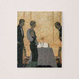 ヴィンテージのラブロマンスもの、カップルのエレガントな夕食 ジグソーパズル