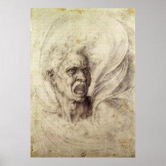 ヴィンテージのルネサンス、ミケランジェロ著とてつもない精神 ポスター