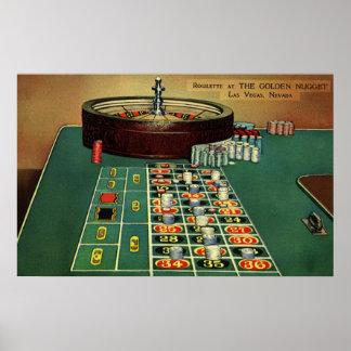 ヴィンテージのルーレットのテーブルのカジノのゲーム、賭ける破片 ポスター