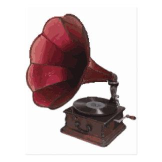 ヴィンテージのレコードプレーヤー ポストカード