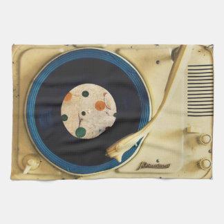 ヴィンテージのレコードプレーヤ キッチンタオル