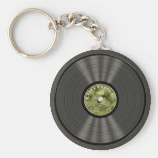 ヴィンテージのレコード(緑の) Keychain キーホルダー