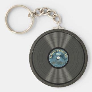 ヴィンテージのレコード(青い) Keychain キーホルダー