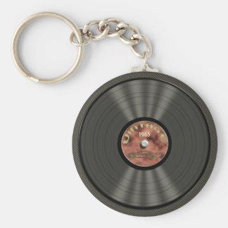 ヴィンテージのレコード (red)Keychain ベーシック丸型缶キーホルダー