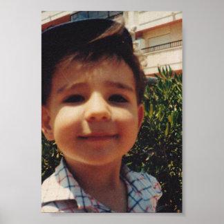 ヴィンテージのレトロのかわいい男の子の甘い微笑の子供の写真 ポスター