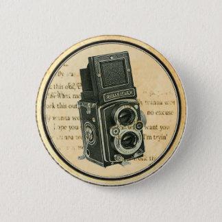 ヴィンテージのレトロのカメラのカメラマンボタンPin 5.7cm 丸型バッジ