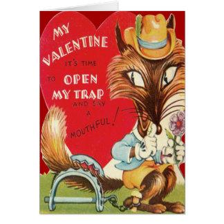 ヴィンテージのレトロのキツネのバレンタインカード カード