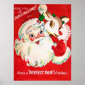 ヴィンテージのレトロのクリスマスのサンタのトナカイポスター ポスター