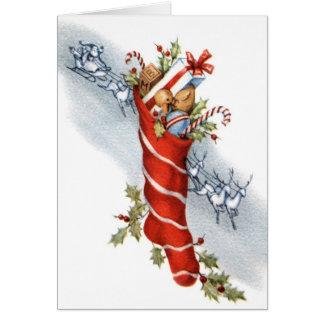ヴィンテージのレトロのクリスマスのストッキングの挨拶状 カード
