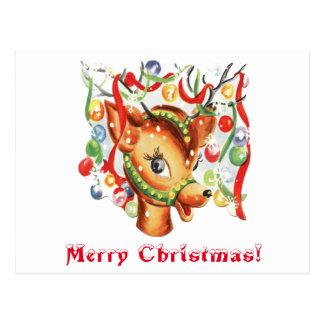ヴィンテージのレトロのクリスマスのトナカイの紙吹雪 ポストカード