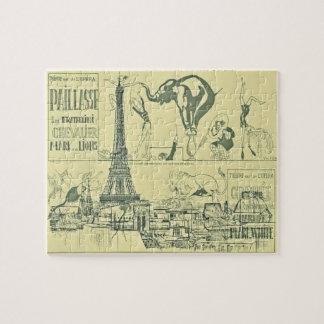 ヴィンテージのレトロのパリのサーカスのエッフェル塔のデザイン ジグソーパズル