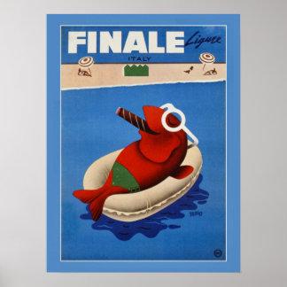 ヴィンテージのレトロのフィナーレのかわいい魚イタリアンな旅行広告 ポスター