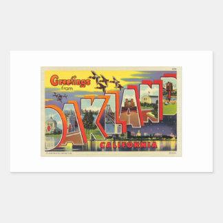 ヴィンテージのレトロの低俗なオークランドの大きい手紙の郵便はがき 長方形シール