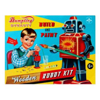 ヴィンテージのレトロの低俗な子供のおもちゃの木のロボットキット ポストカード