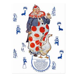 ヴィンテージのレトロの低俗な排気切替器の紙のピエロ ポストカード