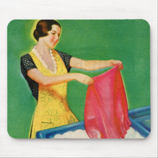 ヴィンテージのレトロの低俗な洗濯の洗浄の石鹸の女性 マウスパッド