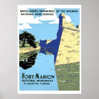 ヴィンテージのレトロの城砦のマリオンセントオーガスティン旅行 ポスター