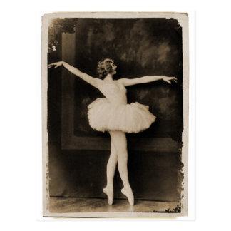ヴィンテージのレトロの女性のバレエダンサーの女性 ポストカード
